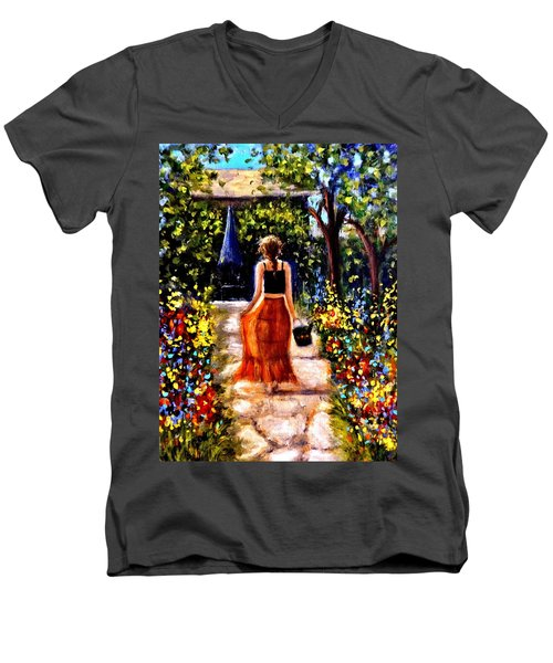 Men's V-Neck T-Shirt featuring the painting It's A Beautiful Day.. by Cristina Mihailescu