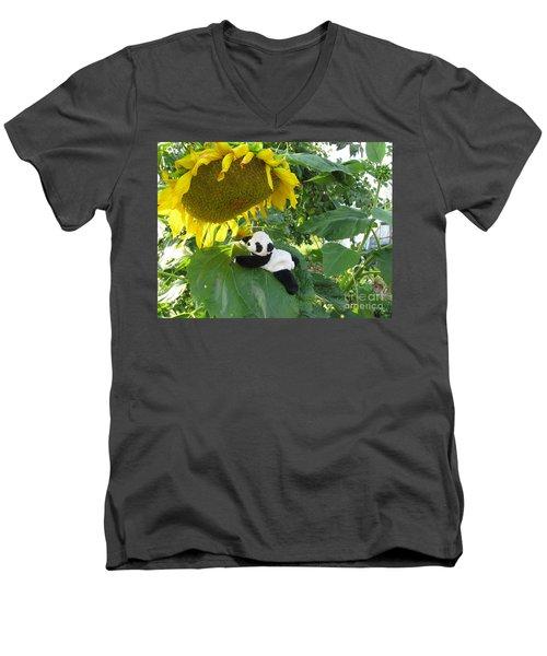 Men's V-Neck T-Shirt featuring the photograph It's A Big Sunflower by Ausra Huntington nee Paulauskaite