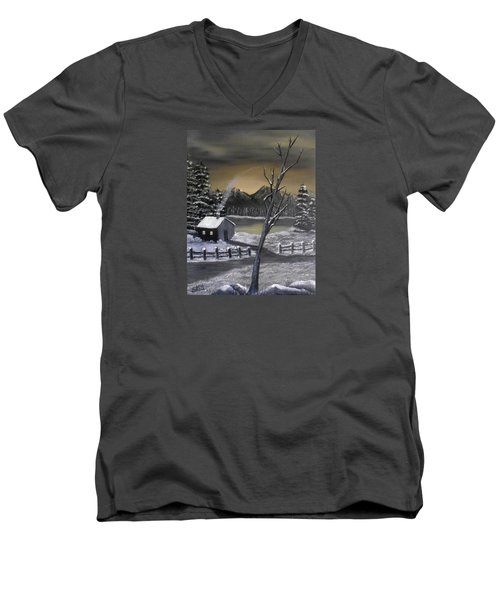 Men's V-Neck T-Shirt featuring the painting It's Cold Outside by Sheri Keith