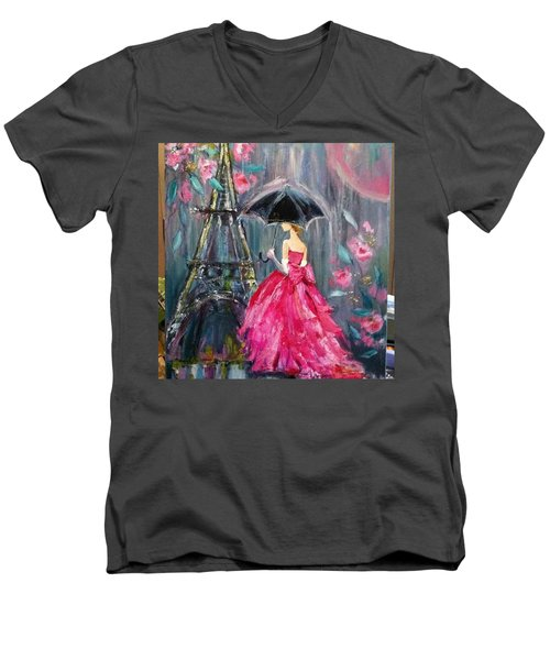It's Raining In #california ! This Men's V-Neck T-Shirt