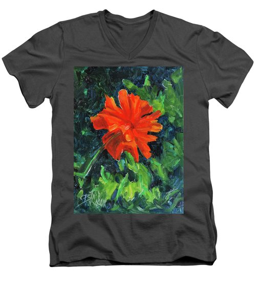 Men's V-Neck T-Shirt featuring the painting I've Got My Red Dress On by Billie Colson
