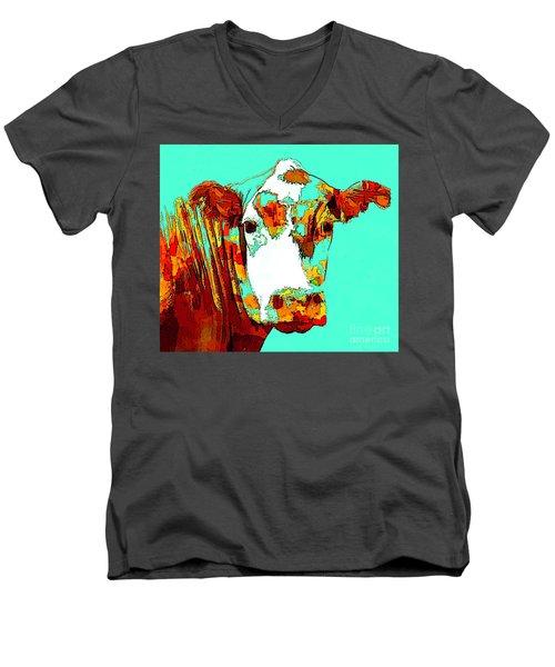 Turquoise Cow Men's V-Neck T-Shirt