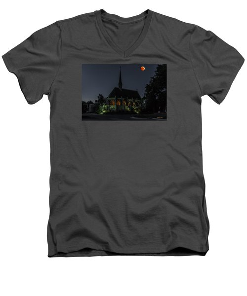 Men's V-Neck T-Shirt featuring the photograph Ivy Chapel Under The Blood Moon by Stephen  Johnson