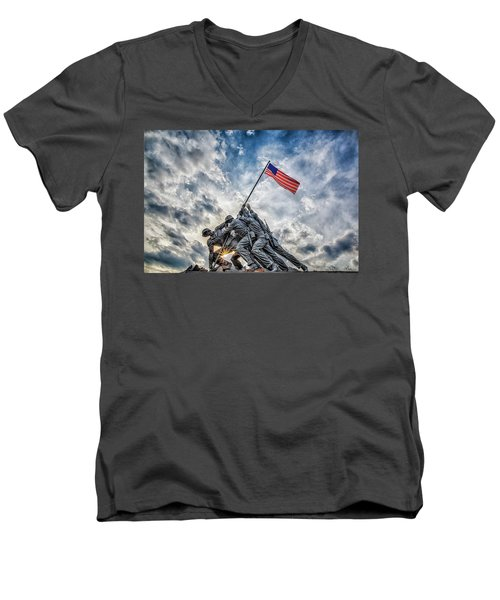 Iwo Jima Memorial Men's V-Neck T-Shirt by Susan Candelario