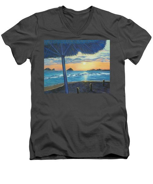 Men's V-Neck T-Shirt featuring the painting Ixtapa by Susan DeLain