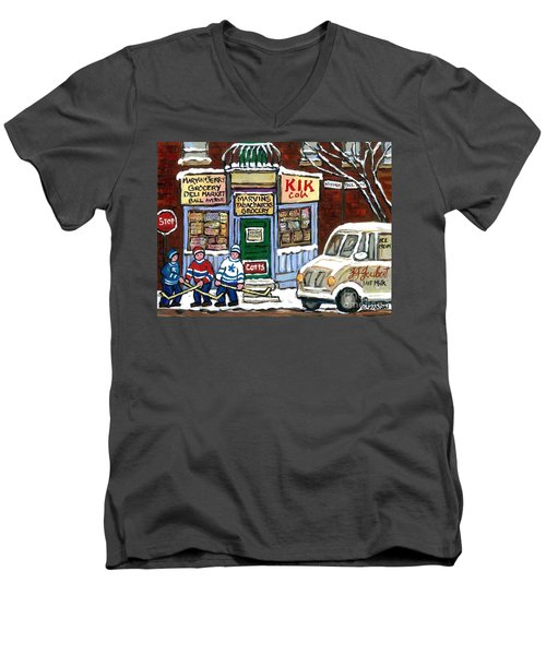 J J Joubert Vintage Milk Truck At Marvin's Grocery Montreal Memories Street Hockey Best Hockey Art Men's V-Neck T-Shirt