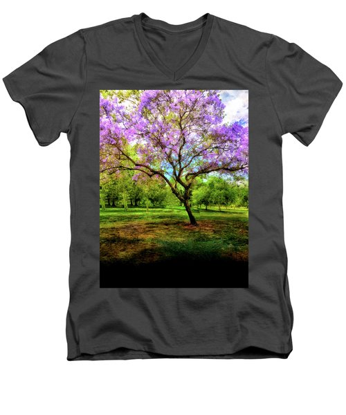 Jacaranda Tree Men's V-Neck T-Shirt by Joseph Hollingsworth