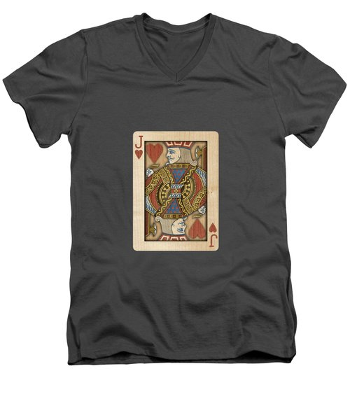 Jack Of Hearts In Wood Men's V-Neck T-Shirt by YoPedro