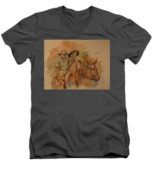 Men's V-Neck T-Shirt featuring the painting Jack Simpson And Duffy by Ray Agius
