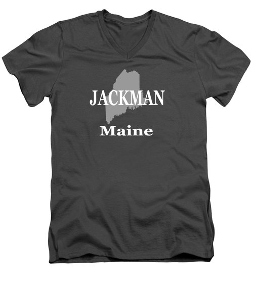 Men's V-Neck T-Shirt featuring the photograph Jackman Maine State City And Town Pride  by Keith Webber Jr