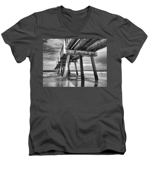 Jacksonville Beach Florida Usa Pier Men's V-Neck T-Shirt by Vizual Studio