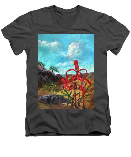 Jacobean Lily Of Mexico Men's V-Neck T-Shirt