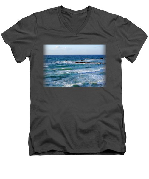 Jaffa Beach T-shirt Men's V-Neck T-Shirt by Isam Awad