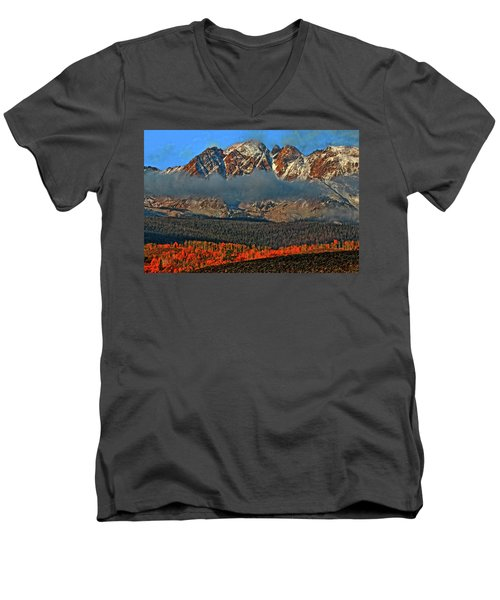 Men's V-Neck T-Shirt featuring the photograph Jagged Peaks Fall by Scott Mahon