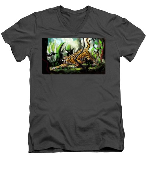 Jaguar And Boa Men's V-Neck T-Shirt