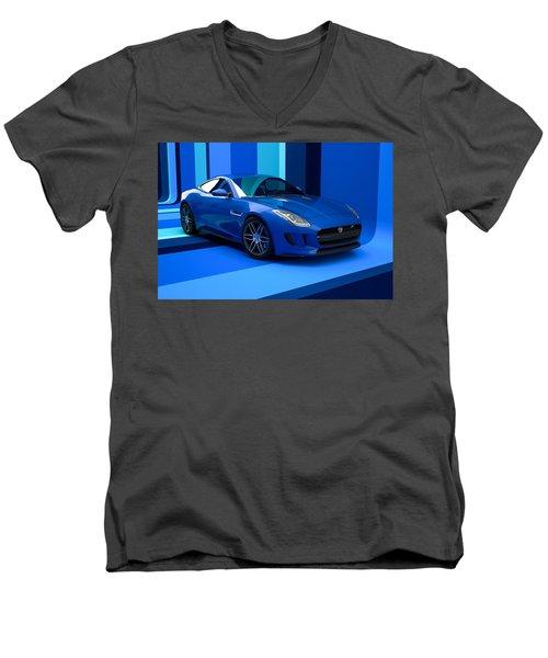 Jaguar F-type - Blue Retro Men's V-Neck T-Shirt
