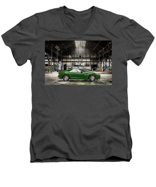 Jaguar F-type - British Racing Green - Side View Men's V-Neck T-Shirt