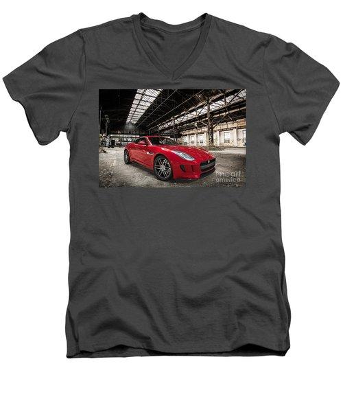 Jaguar F-type - Red - Front View Men's V-Neck T-Shirt