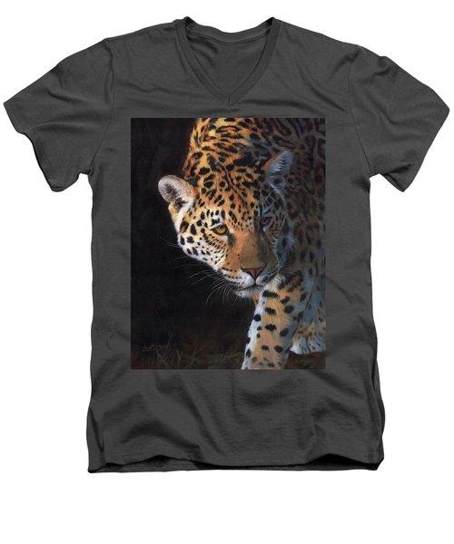 Jaguar Portrait Men's V-Neck T-Shirt by David Stribbling