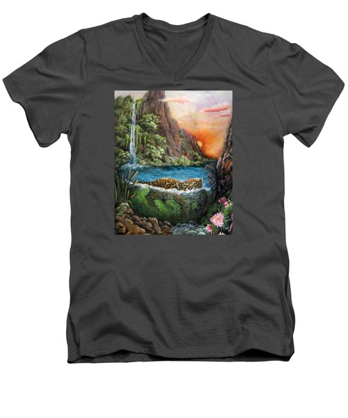 Jaguar Sunset  Men's V-Neck T-Shirt
