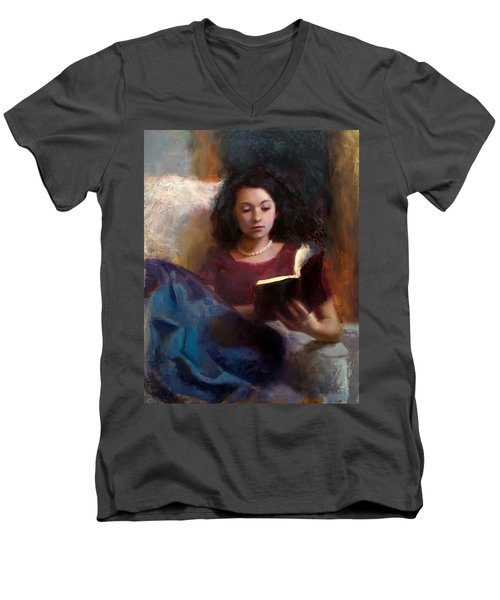 Jaidyn Reading A Book 1 - Portrait Of Young Woman - Girls Who Read - Books In Art Men's V-Neck T-Shirt