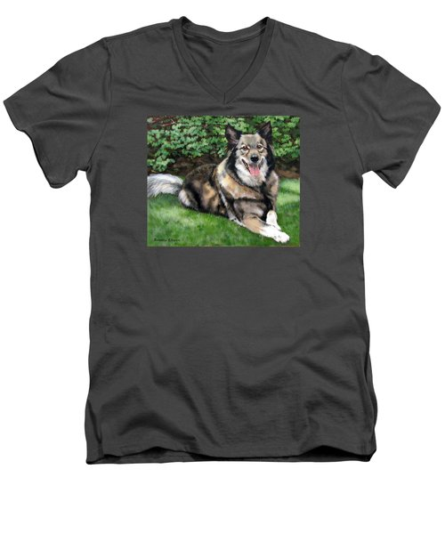 Men's V-Neck T-Shirt featuring the painting Jake by Sandra Chase
