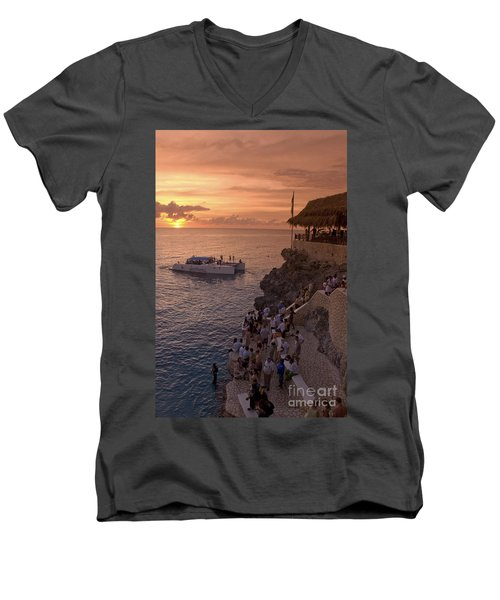 Men's V-Neck T-Shirt featuring the photograph Jamaica Negril Ricks Cafe by Juergen Held