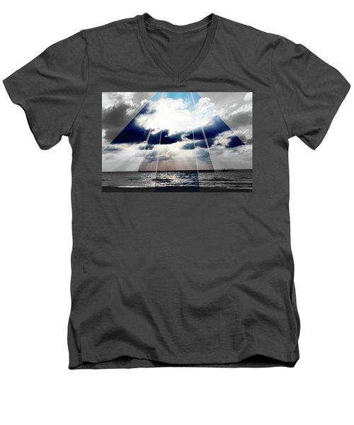 Jamaica Sunset Art Deco Bw With Color Men's V-Neck T-Shirt