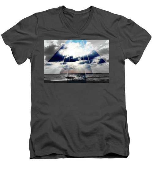 Jamaica Sunset Art Deco Bw With Color Men's V-Neck T-Shirt