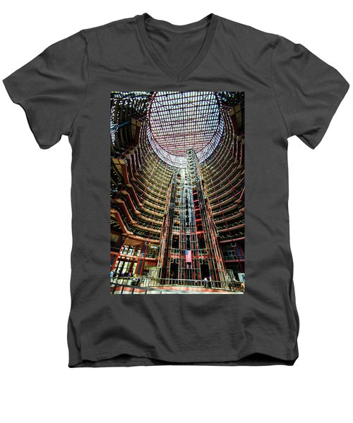 James R Thompson Center Interior Chicago Men's V-Neck T-Shirt by Deborah Smolinske
