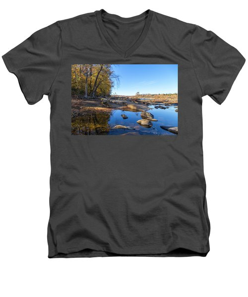 Men's V-Neck T-Shirt featuring the photograph James River Fall by Alan Raasch