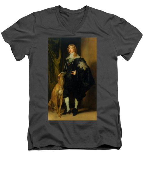 Men's V-Neck T-Shirt featuring the painting James Stuart - Duke Of Richmond And Lennox                       by Anthony Van Dyck