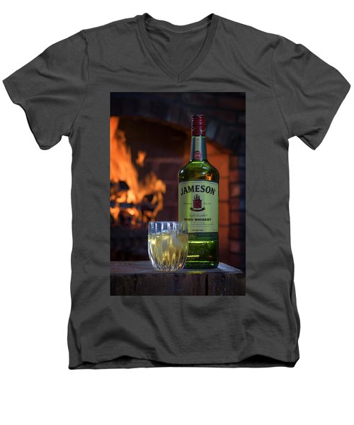 Jameson By The Fire Men's V-Neck T-Shirt by Rick Berk