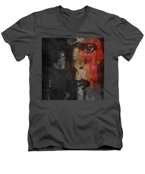 Men's V-Neck T-Shirt featuring the painting Jamming Good With Wierd And Gilly by Paul Lovering