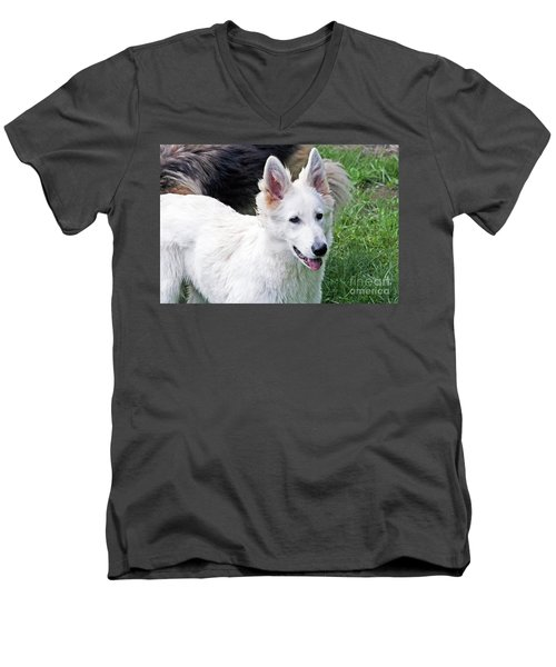 Janie As A Pup Men's V-Neck T-Shirt