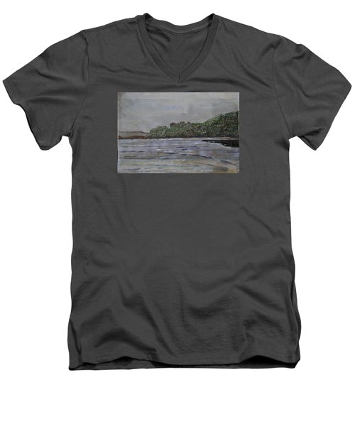 Men's V-Neck T-Shirt featuring the painting Janjira Palace by Vikram Singh