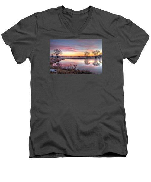 January Dawn Men's V-Neck T-Shirt by Fiskr Larsen