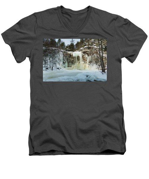 January Morning At Awosting Falls Men's V-Neck T-Shirt