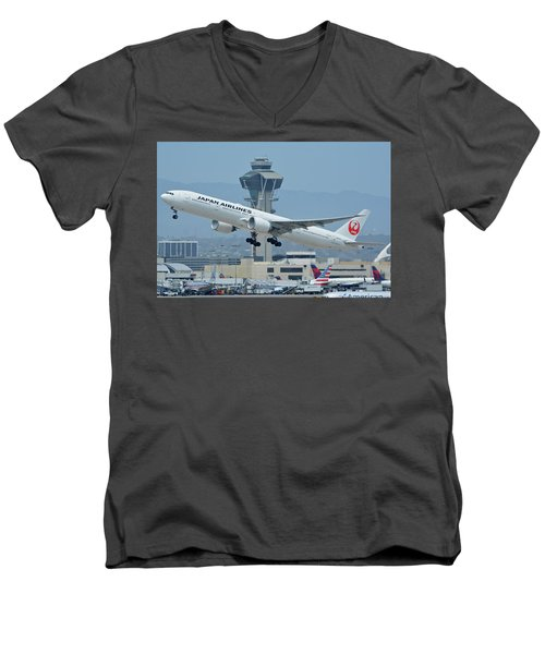 Men's V-Neck T-Shirt featuring the photograph Japan Airlines Boeing 777-346er Ja737j Los Angeles International Airport May 3 2016 by Brian Lockett