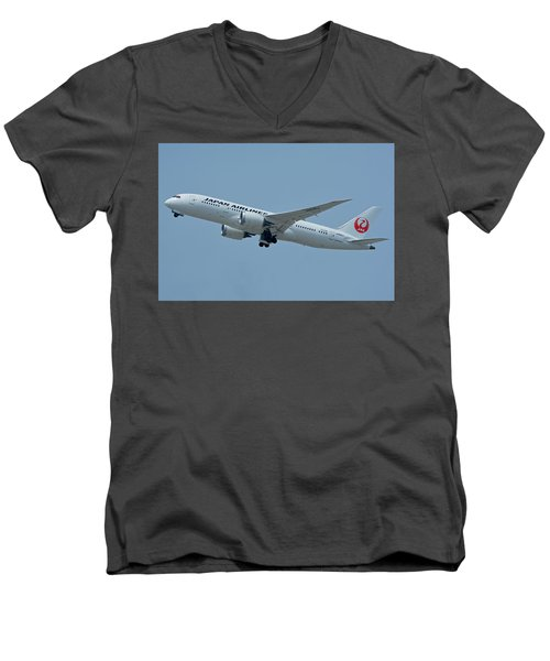 Men's V-Neck T-Shirt featuring the photograph Japan Airlines Boeing 787-8 Ja835j Los Angeles International Airport May 3 2016 by Brian Lockett