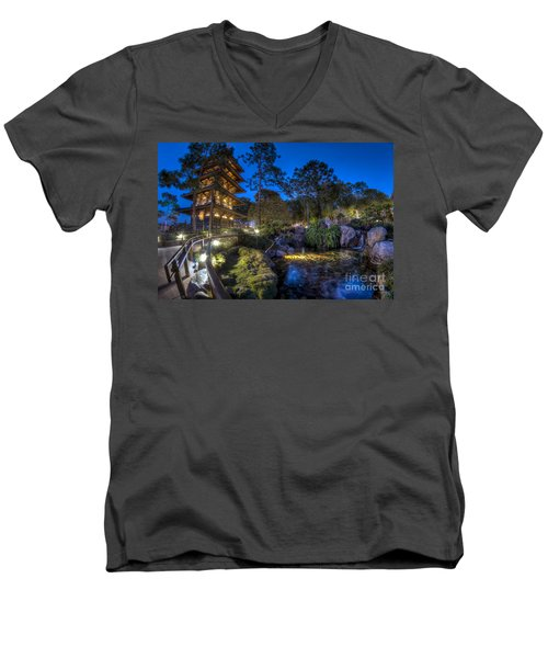 Japan Epcot Pavilion By Night. Men's V-Neck T-Shirt