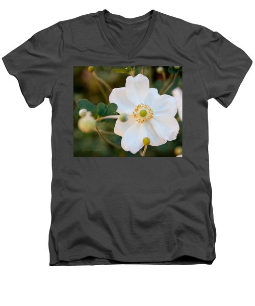 Men's V-Neck T-Shirt featuring the photograph Japanese Anemone by Terri Harper