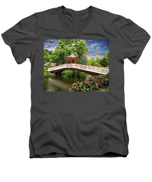 Japanese Bridge Garden Men's V-Neck T-Shirt