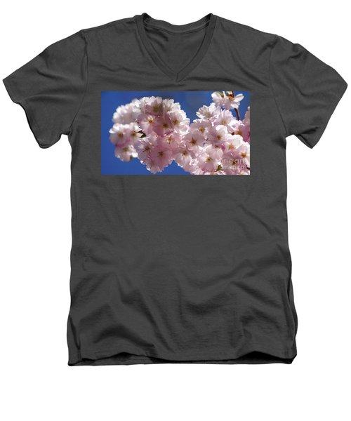 Japanese Flowering Cherry Prunus Serrulata Men's V-Neck T-Shirt