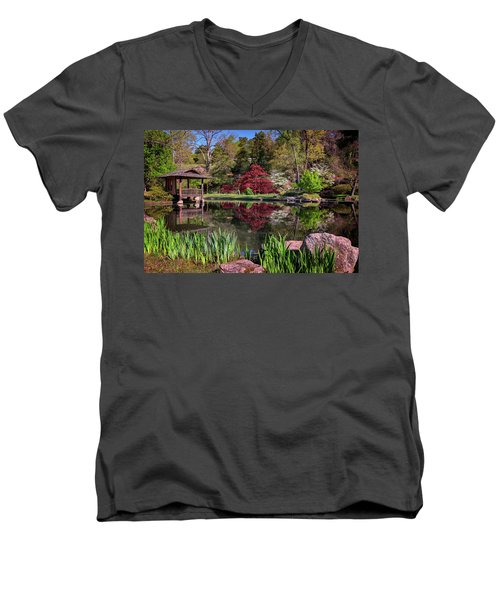 Men's V-Neck T-Shirt featuring the photograph Japanese Garden At Maymont by Rick Berk