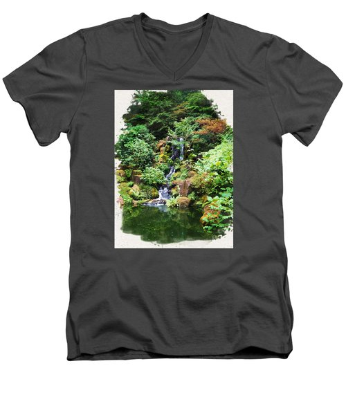 Japanese Garden Waterfall 2 Men's V-Neck T-Shirt