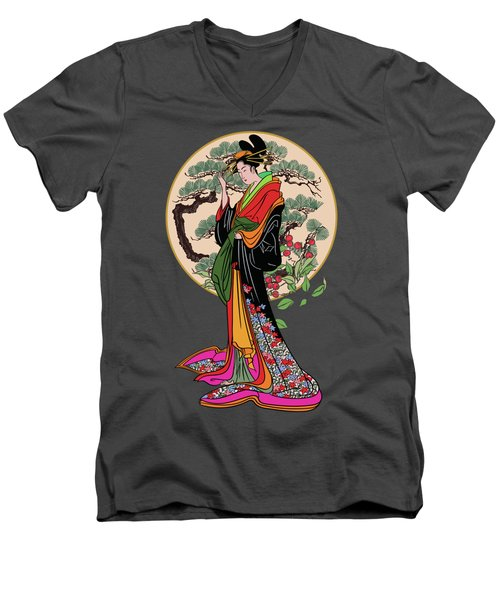 Men's V-Neck T-Shirt featuring the digital art Japanese Girl With A Landscape In The Background. by Andrzej Szczerski