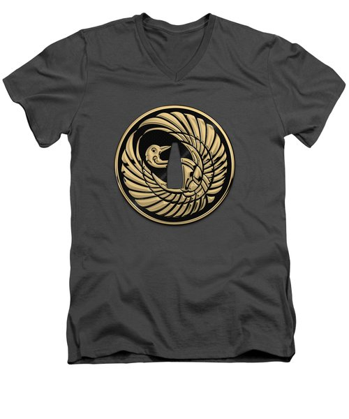 Japanese Katana Tsuba - Golden Crane On Black Steel Over Red Velvet Men's V-Neck T-Shirt
