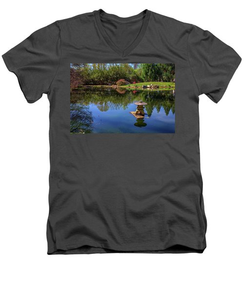 Men's V-Neck T-Shirt featuring the photograph Japanese Reflections At Maymont by Rick Berk