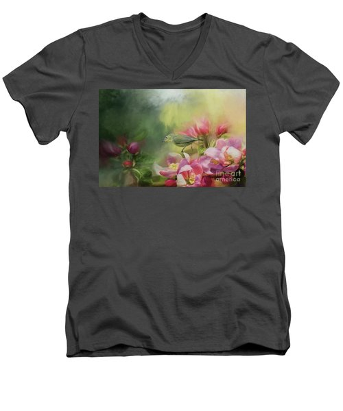 Japanese White-eye On A Blooming Tree Men's V-Neck T-Shirt by Eva Lechner